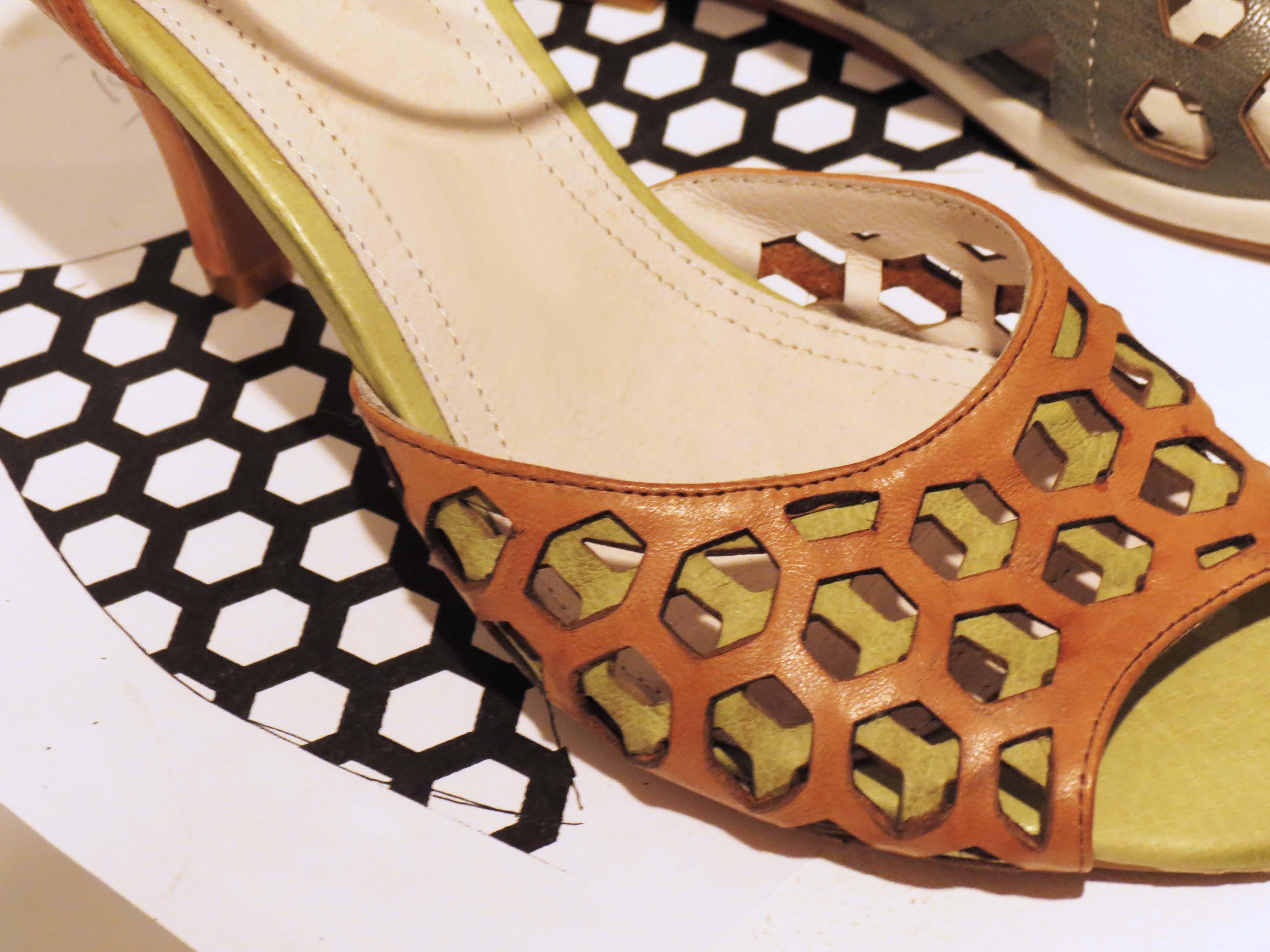 cắt laser quai giày dép da - simili