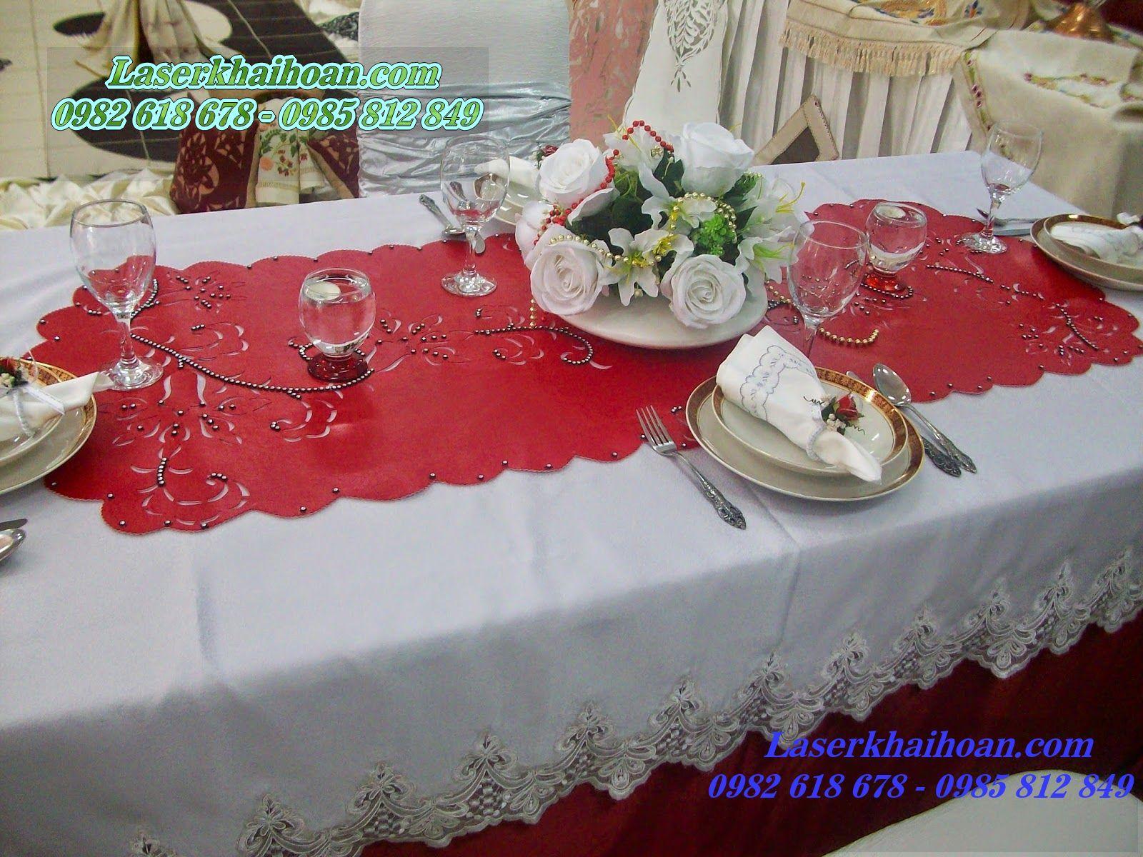 Cắt laser trên vải làm khăn trải bàn