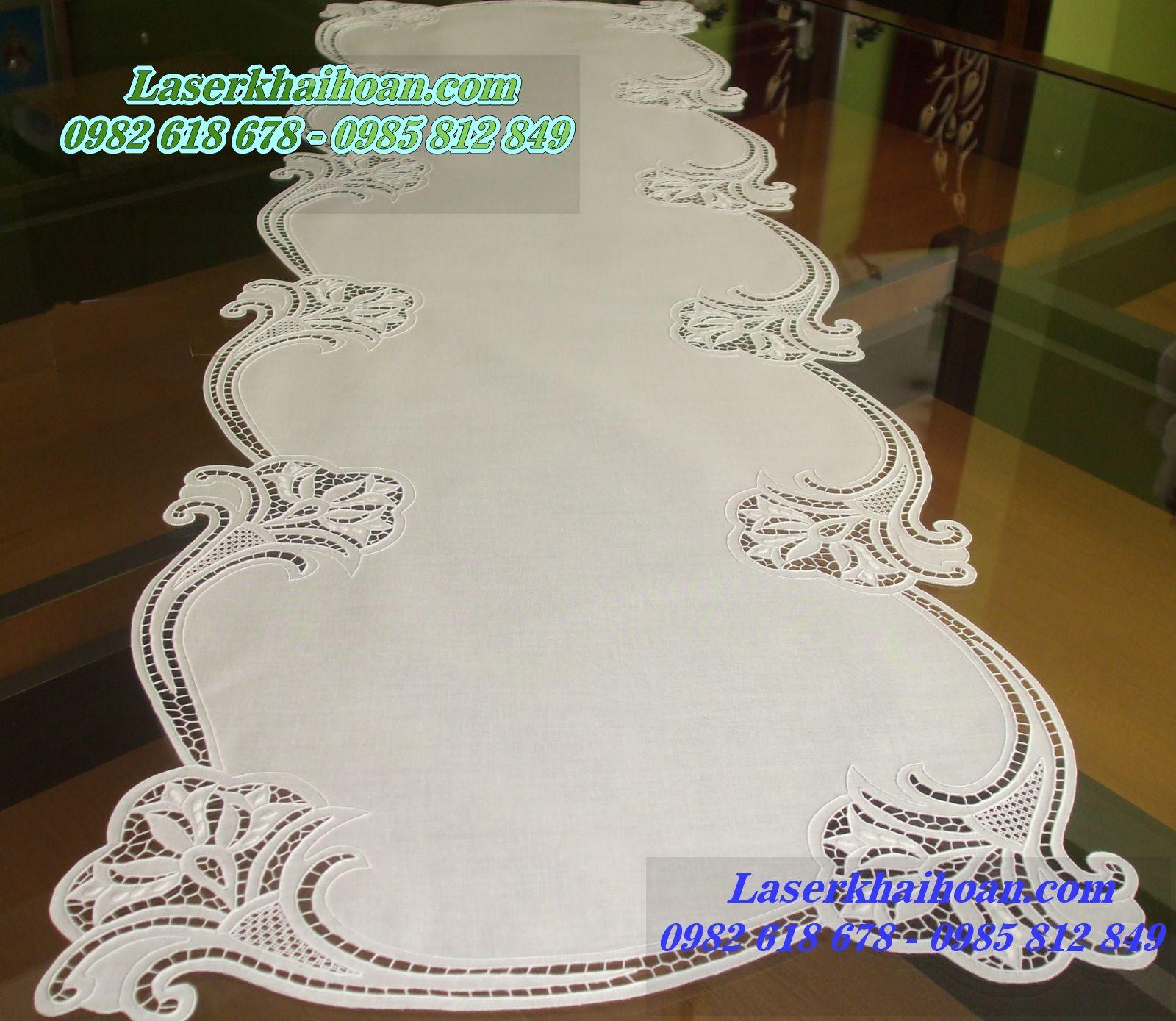 Cắt laser trên vải làm khăn trải bàn đẹp