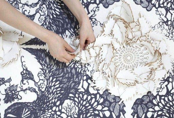 cắt hoa vải đính áo bằng laser